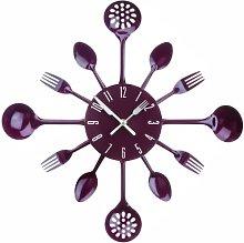 PH Purple Cutlery Kitchen Wall Clock Utensil Funky