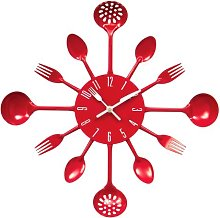 PH Red Cutlery Kitchen Wall Clock Utensil Funky