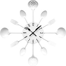 PH White Cutlery Kitchen Wall Clock Utensil Funky