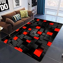 PHhomedecor Carpet Rug,Black And Red Geometric