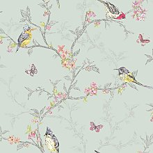 Phoebe Birds Butterfly Branches Leaves Wallpaper -