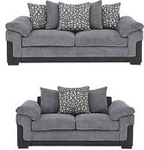 Phoenix Fabric And Faux Leather 3 Seater + 2