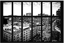 Photo Wall Mural - New York Window black-white -