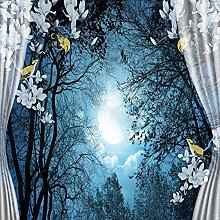 Photo Wallpaper 120x100cm Curtain, Moonlit Night,