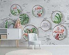 Photo Wallpaper 137.8x100.8inch - 3 StripsFlamingo