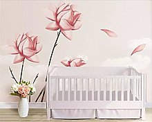Photo Wallpaper 300x210 cm - 6 Strips Pink Flowers