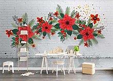 Photo Wallpaper 3D Effect Brick Wall Flowers Green