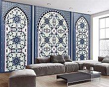 Photo Wallpaper 78.7x59inch - 3 StripsBlue Pattern