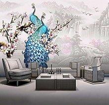 Photo Wallpaper European Style Blue Peacock 3D