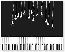 Piano Print Music Poster Earphone Art Black and