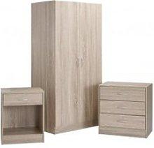Piccalo Wooden Bedroom Furniture Set In Brown
