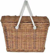 Picnic basket with lid, rattan shopping basket,