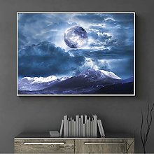 Picture print canvas wall art Cloth painting Moon