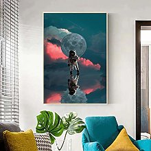 Picture print Cloth painting Astronaut Moon