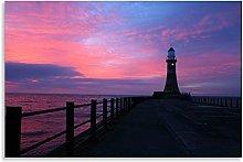 Pier Lighthouse Canvas Pink Purple Horizon