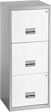 Pierre Henry 3 Drawer A4 Filing Cabinet - Silver &