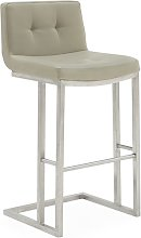 Pietro Bar Stool In Taupe PU With Brushed Metal
