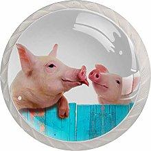Pig Animal Pink White Crystal Drawer Handles