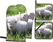 Pig Couple Printed Resistant Hot Pads with