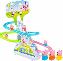 Pig Crawling Stairs Light Music Track Pink Pig