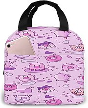 Pig Dance in Space43 Portable Insulated Lunch Bag,