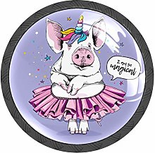 Pig Unicorn Purple Knobs and Pull Handle for