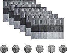 pigchcy Black Elegant Placemats Set of 6 with
