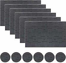 pigchcy Black Elegant Placemats Set of 6 with Same
