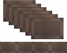 pigchcy Brown Elegant Placemats and Table Runner