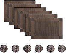 pigchcy Brown Elegant Placemats Set of 6 with