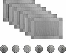pigchcy Grey Elegant Placemats Set of 6 with
