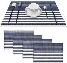 pigchcy Navy Blue Placemats Set of 4 Vinyl Woven