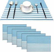 pigchcy Stripe Placemats Set of 6 Vinyl Woven