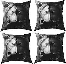 Pillow White And Black Lion Printing 4-Piece Set