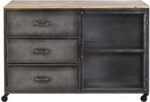 Pine and Metal 3-Drawer 1-Door Storage Cabinet