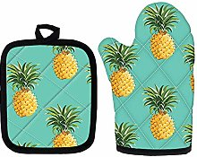 Pineapple Blue Heat Resistant Oven Mitt Set, Oven