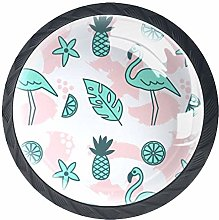 Pineapple Flamingo Pink 4 Pieces Crystal Glass