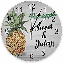 Pineapple PVC Wall Clock, Silent Non-Ticking
