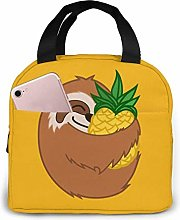 Pineapple Sloth Insulated Zip Cooler Bag Portable