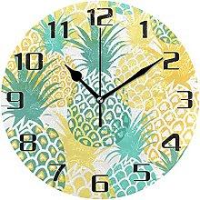 Pineapple Tropical Fruit Design Wall Clock Silent