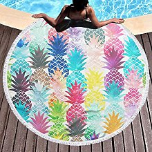 Pineapple Watercolor Printed Round Beach Towel