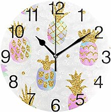 Pineapple with Gold Glitter Round Wall Clock,