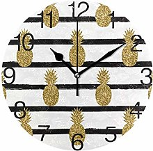 Pineapple with Stripes Round Wall Clock, Silent