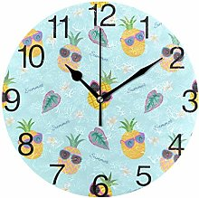 Pineapple with Sunglasses Round Wall Clock, Silent