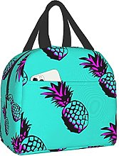 Pineapples Purple Portable Insulated Lunch