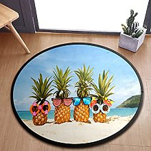 Pineapples With Some Cool Shades Area Rugs Round