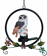 Pinenuts Solar Owl Hanging Light, LED Resin Garden