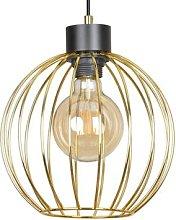 Pineta 1 hanging light in black, gold lampshade