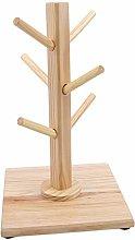 Pinhan Wooden Mug Tree Holder with 6 Hooks,