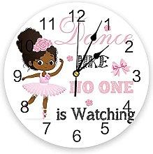 Pink African Ballet Girl 3D Wall Clock Modern